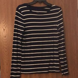 Dark Blue and White Striped Long Sleeve Shirt
